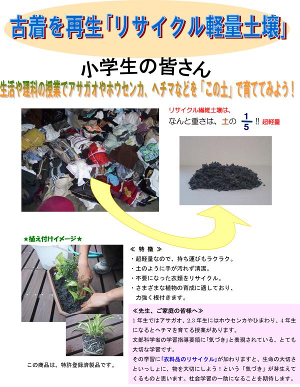 小学校教材用-超軽量リサイクル繊維培地